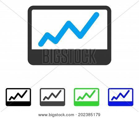 Stock Market Chart vector pictograph. Style is a flat graphic symbol in black, grey, blue, green color versions. Designed for web and mobile apps.