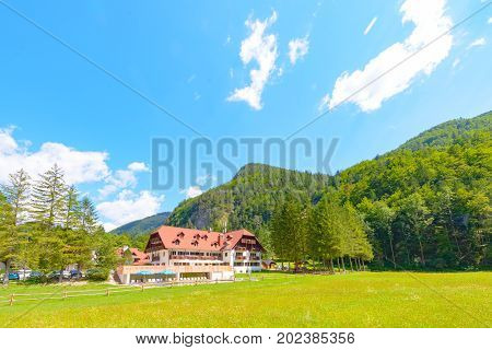 Logarska dolina, Slovenia - August 20 2017: Newly renovated hotel Plesnik in Logarska dolina, Logar valley, Slovenia offers a superb starting point for climbing and hiking in slovenian Alps