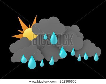 3d illustration of Rainclouds and Sun with water drops on black background