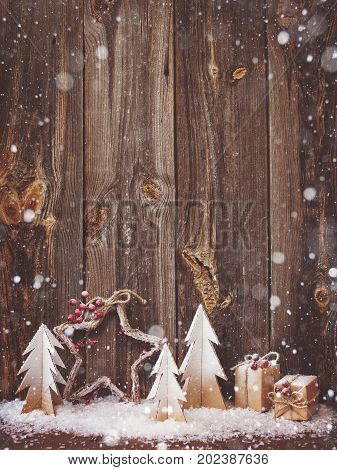 Christmas decoration over wooden background for congratulations