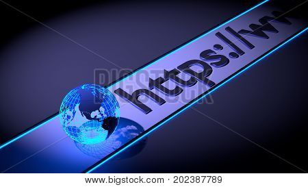 Dark browser bar with globe icon and dark https connection 3D illustration