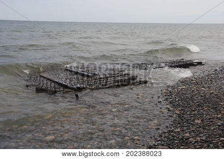 Shipwreck remains at Pictured Rocks National Lakeshore, Upper Peninsula of Michigan
