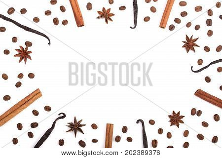 Frame of vanilla sticks, cinnamon, coffee beans and star anise isolated on white background with copy space for your text. Top view.