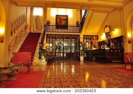 Viareggio Italy,October 30th 2010.Hotel lobby staircase front desk and reception area in the Best Western Hotel in Viareggio Italy.