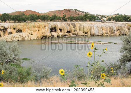 Scenic view of geothermal terraces at the banks of the Bighorn River, Hot Springs State Park, Thermopolis, WY