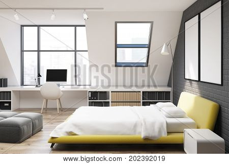 Brick Wall Bedroom And Home Office, Yellow, Side