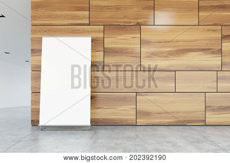 Vertical Poster On Office Floor, Wood