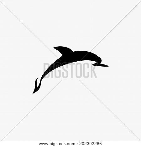 Vector black dolphin logo. Dolphin logotype design