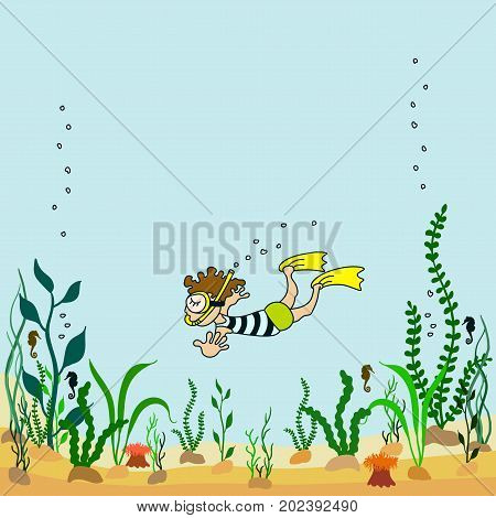 Vector illustration of cartoon seabed with seaweeds and swimmers
