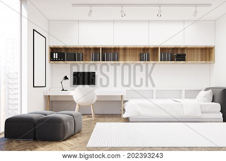 White Wall Bedroom And Home Office, Single Side