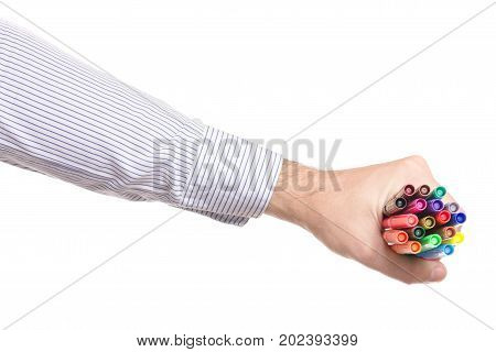 Male hands felt-tip pens on white background isolation