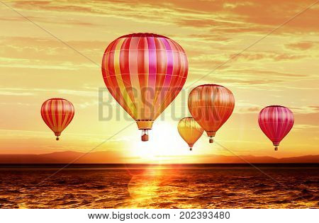 soar hot air balloons on sunset