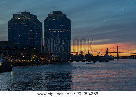 Halifax, Nova Scotia waterfront at sunset.