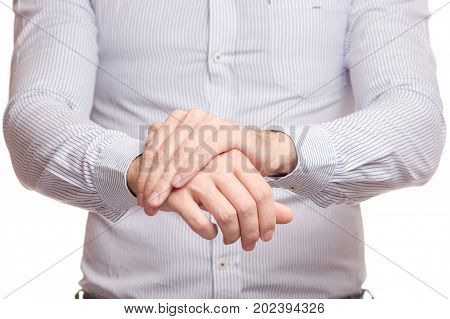 Male hand hurts wrist arm on white background isolation