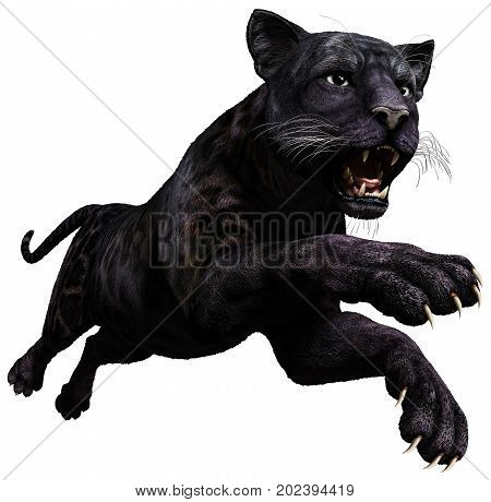 Panther  leaping in to attack 3D illustration