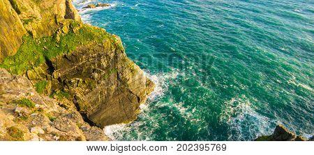 Steep Cliffs in North Wales amazing coastline on irish sea