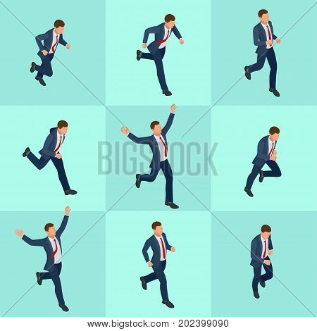 Set isometric running businessman. Businessman Man on white background. Isometric character poses. Cartoon people. Create your own design for vector.
