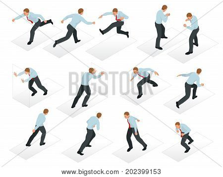 Isometric set of Businessman character design. 3D People isometric business man in different poses isolated. Working in office