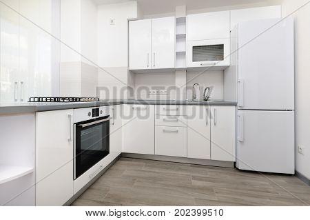 Modern white and black kitchen, minimalistic clean design
