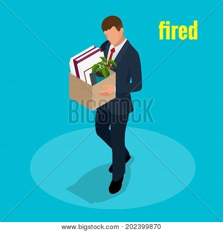 Isometric 3d vector illustration people Dismissed sad man carrying box with her things Dismissal, Unemployment, jobless and employee job reduction concept.