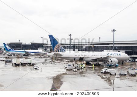 Narita Japan - May 12017 United Airlines and ANA airplane located in Narita airport wait the passenger for departure
