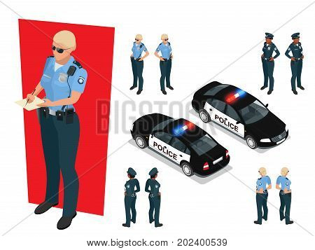 Isometric police-officer in uniform and police car. Vector illustration Isolated on white background. Police officer emergency service car driving street.