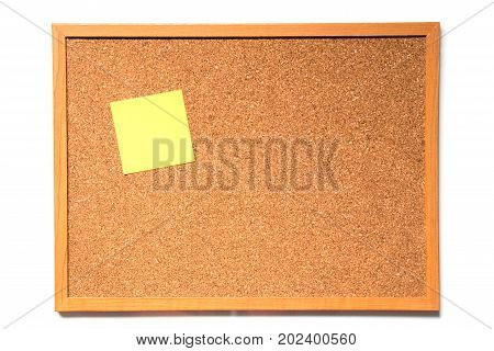 Brown cork board with wood frame and have paper to note attachment on white background