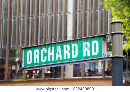 Orchard road Singapore : May 7 2017 : Orchard rd sign in Singapore which have the famous shopping center in this street.