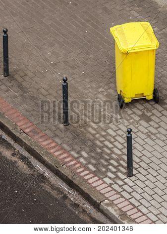 Plastic Wheely Bin In The Street Outside