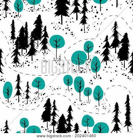 Abstract hand drawn outdoor map. Mountains and forest background.