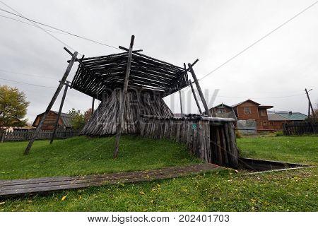 ESSO VILLAGE KAMCHATKA PENINSULA RUSSIAN FAR EAST - SEPTEMBER 18 2013: Koryak semi-underground dwelling of the XIX century. Bystrinsky Ethnographic Museum in Bystrinsky Region on Kamchatka Region.