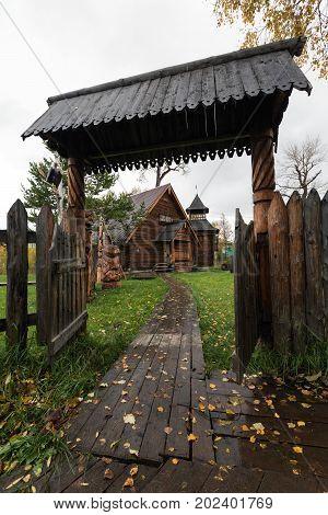 ESSO VILLAGE KAMCHATKA PENINSULA RUSSIAN FAR EAST - SEPTEMBER 18 2013: Wooden gate - entrance to Bystrinsky Ethnographic Museum in Bystrinsky Region on Kamchatka Region.