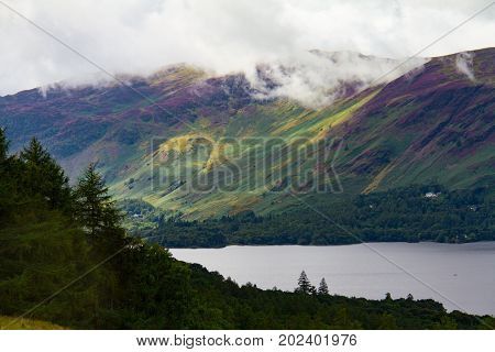 Forest And Lake Derwent Water In Keswick, Lake District, Uk