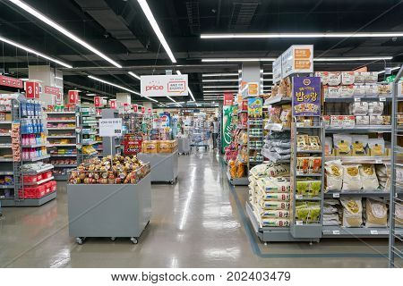 BUSAN, SOUTH KOREA - MAY 25, 2017: inside a Lotte Mart in Busan. Lotte Mart is an east Asian hypermarket that sells a variety of groceries, clothing, toys, electronics, and other goods.