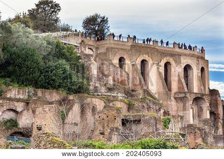 Palantine Hill Roman Forum Rome Italy. Forum rebuilt by Julius Ceasar in 46 BC. Palantine Hill is where Emperors had their palaces.