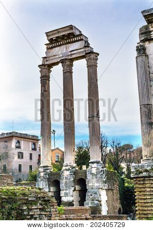 Temple of Vespasian and Titus Corinthian Columns Roman Forum Rome Italy. Temple created in 79 AD by Emperor Titus finished by Emperor Vespacian