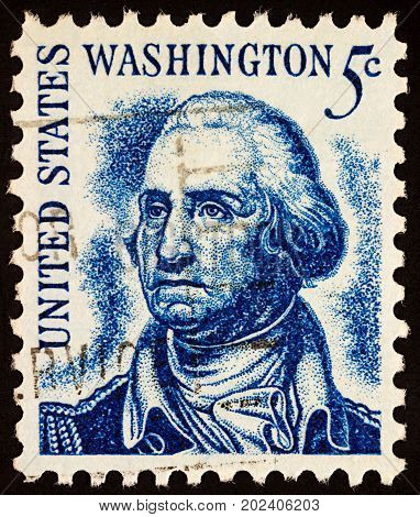 Moscow Russia - September 01 2017: A stamp printed in USA shows portrait of George Washington (1732-1799) 1st President of the United States series