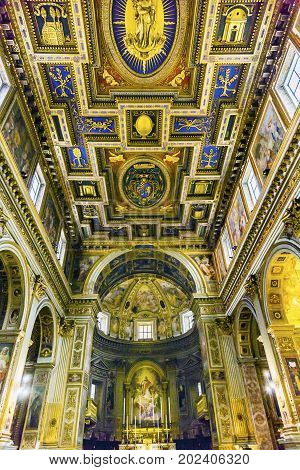 ROME, ITALY - January 19, 2017 Chiesa San Marcello al Corso Altar Dome Frescoes Basilica Church Rome Italy. Built in 309 rebuilt in 1500s after sack of Rome. Frescoes are from the 1600s