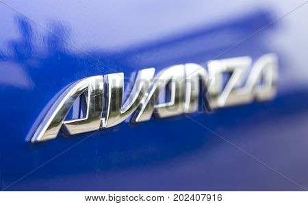 Hanoi, Vietnam - Sep 1, 2017: Close up of the logo of Toyota Avanza MPV car, taken within a test drive. Toyota Motor is a Japanese automotive manufacturer headquartered in Toyota, Aichi, Japan.
