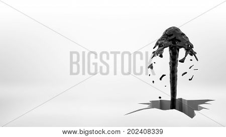 3d rendering of a black oil fountain jet flowing out of a large uneven cracked hole in a white surface. Oil and gas business. Petroleum reservoir. Profitable discovery.