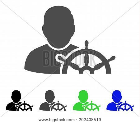 Navigation Captain vector pictogram. Style is a flat graphic symbol in black, grey, blue, green color versions. Designed for web and mobile apps.