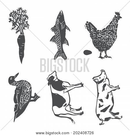 Linocut style vector set of wedding entree option illustrations
