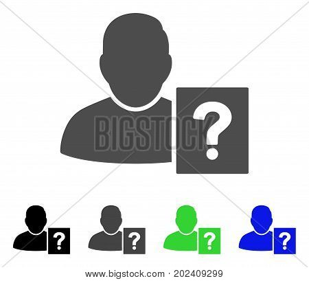 User Status Question vector pictograph. Style is a flat graphic symbol in black, grey, blue, green color variants. Designed for web and mobile apps.