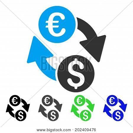 Coins Exchange vector pictograph. Style is a flat graphic symbol in black, gray, blue, green color versions. Designed for web and mobile apps.