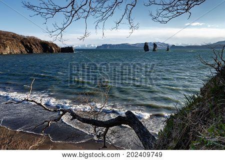 Beautiful Kamchatka Peninsula seascape: view of rocky islands in sea - Three Brothers Rocks in Avacha Bay (Avachinskaya Bay) in Pacific Ocean. Kamchatka Region Russian Far East Eurasia.