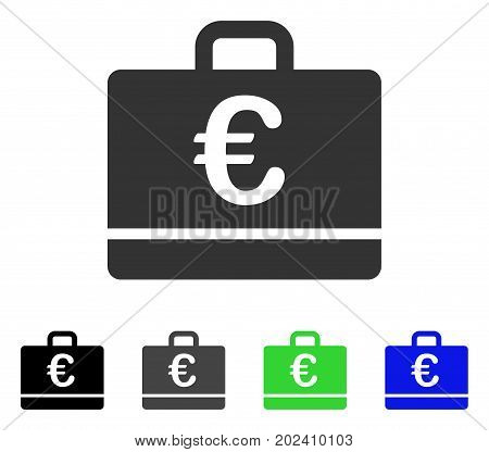 Euro Case vector pictogram. Style is a flat graphic symbol in black, gray, blue, green color variants. Designed for web and mobile apps.