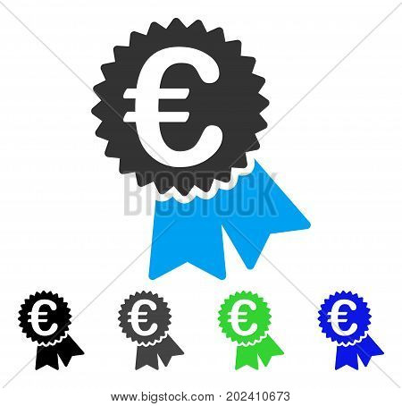 Euro Warranty Seal vector icon. Style is a flat graphic symbol in black, gray, blue, green color versions. Designed for web and mobile apps.