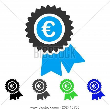 Euro Warranty vector pictograph. Style is a flat graphic symbol in black, grey, blue, green color variants. Designed for web and mobile apps.