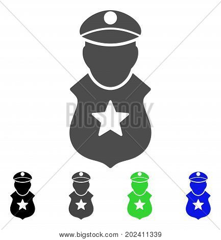 Guard Man vector pictograph. Style is a flat graphic symbol in black, gray, blue, green color versions. Designed for web and mobile apps.