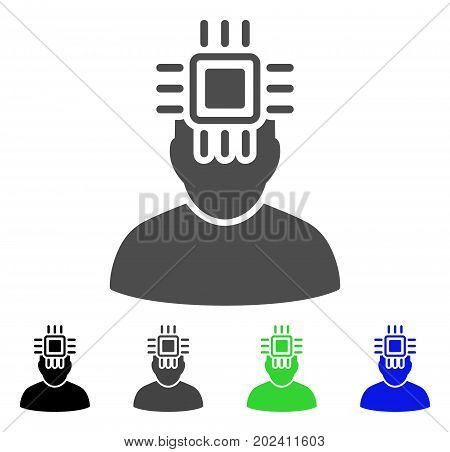 Neuro Interface vector pictogram. Style is a flat graphic symbol in black, grey, blue, green color variants. Designed for web and mobile apps.